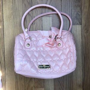 Betsy Johnson pink vinyl heart bag!